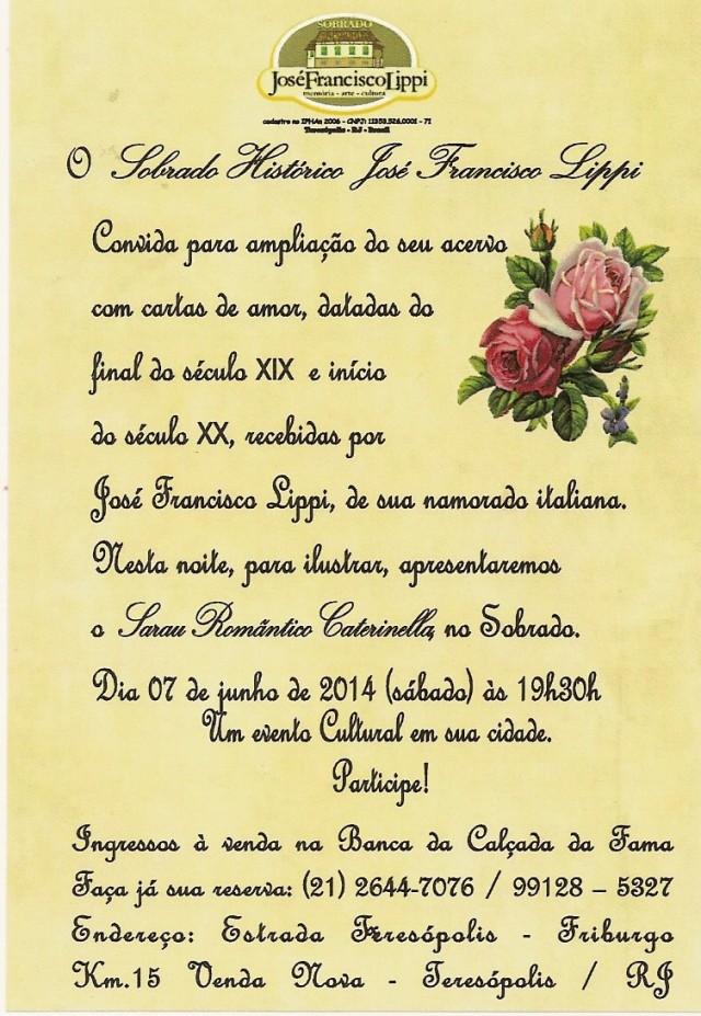 convite para o sarau Caterinella