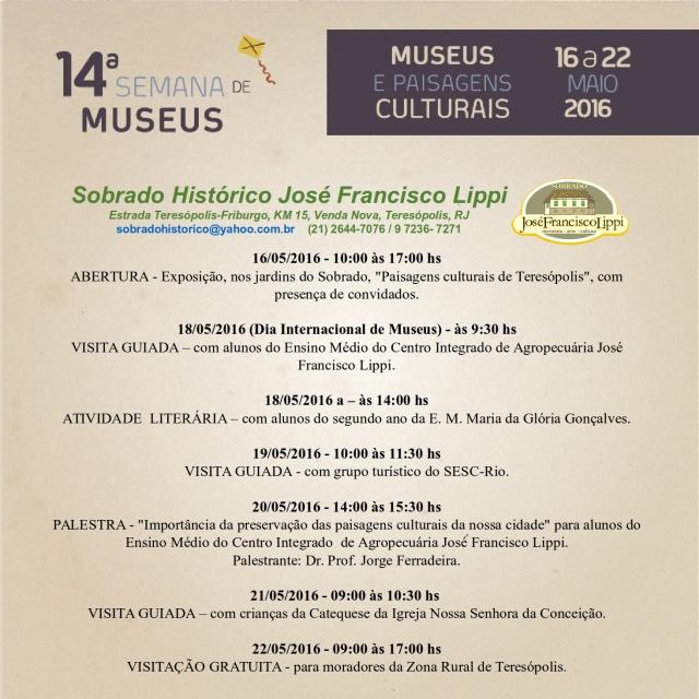 Programação da 14ª Semana de Museus no SHJFL